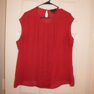 Worthington Sleeveless Pleated Red Blouse XL